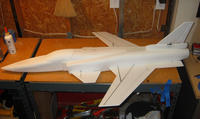 Name: x29-16.jpg Views: 2653 Size: 75.2 KB Description: Final model before the decals were added.  All the test flights were flown with the model like this.
