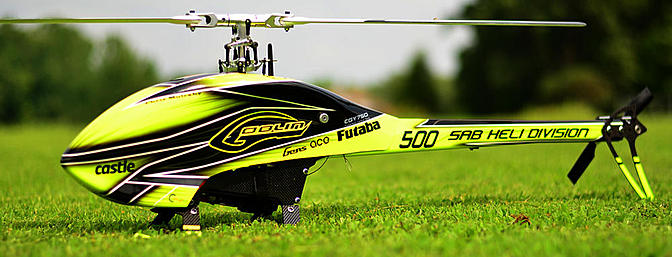 The Goblin 500, loaded with MKS servos, ready for flight.
