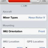 Mixer type, IMU orientation.