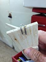 Name: OLY III BUILD-28.jpg Views: 22 Size: 252.2 KB Description: The loop is a cut off and bent paper clip set into groves in the underside of the hatch block.