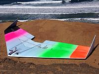 Name: image.jpg Views: 68 Size: 112.9 KB Description: Best acrobatic flying slope glider wing ever! Made from FFF and uses a new Hybrid KF (HKF) airfoil. No hot wires, no monocoat, no packing tape,  name and free plans to be announced.