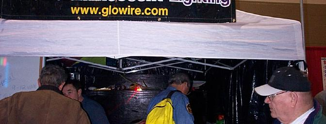 Glowire had the most unique booth -- an EZ-up with enclosed sides to show off the bright neon products. Photo courtesy of Steve Horney.