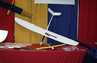 The Sobox Starling Vtail. Three piece wings are hollow molded fiberglass, painted in the mold. With a 2M span, 44