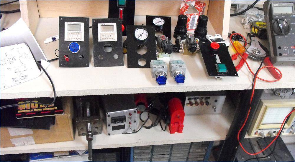 Some key control parts for a custom injection molding machine.