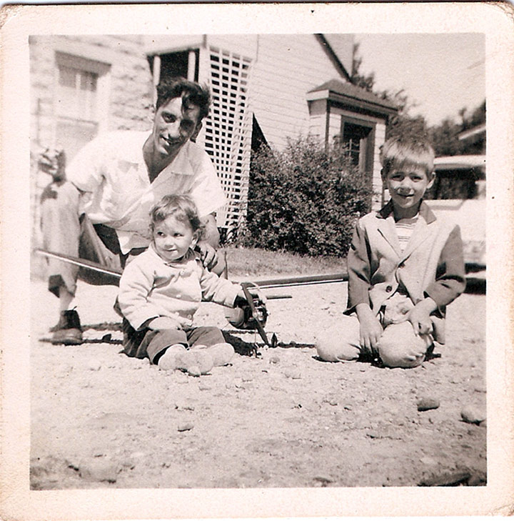 My sister, dad and me in 1953. With the Bootstraps.