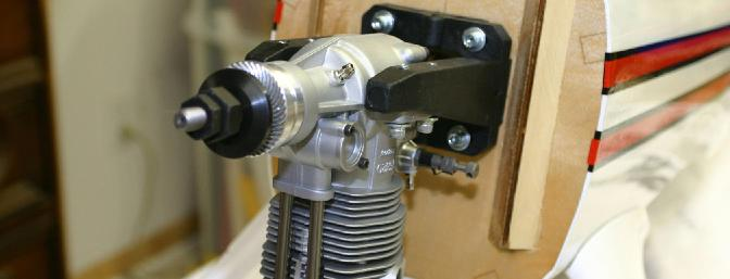 I chose to use the popular OS 120 four cycle engine, mounted on the supplied nylon adjustable engine mount.