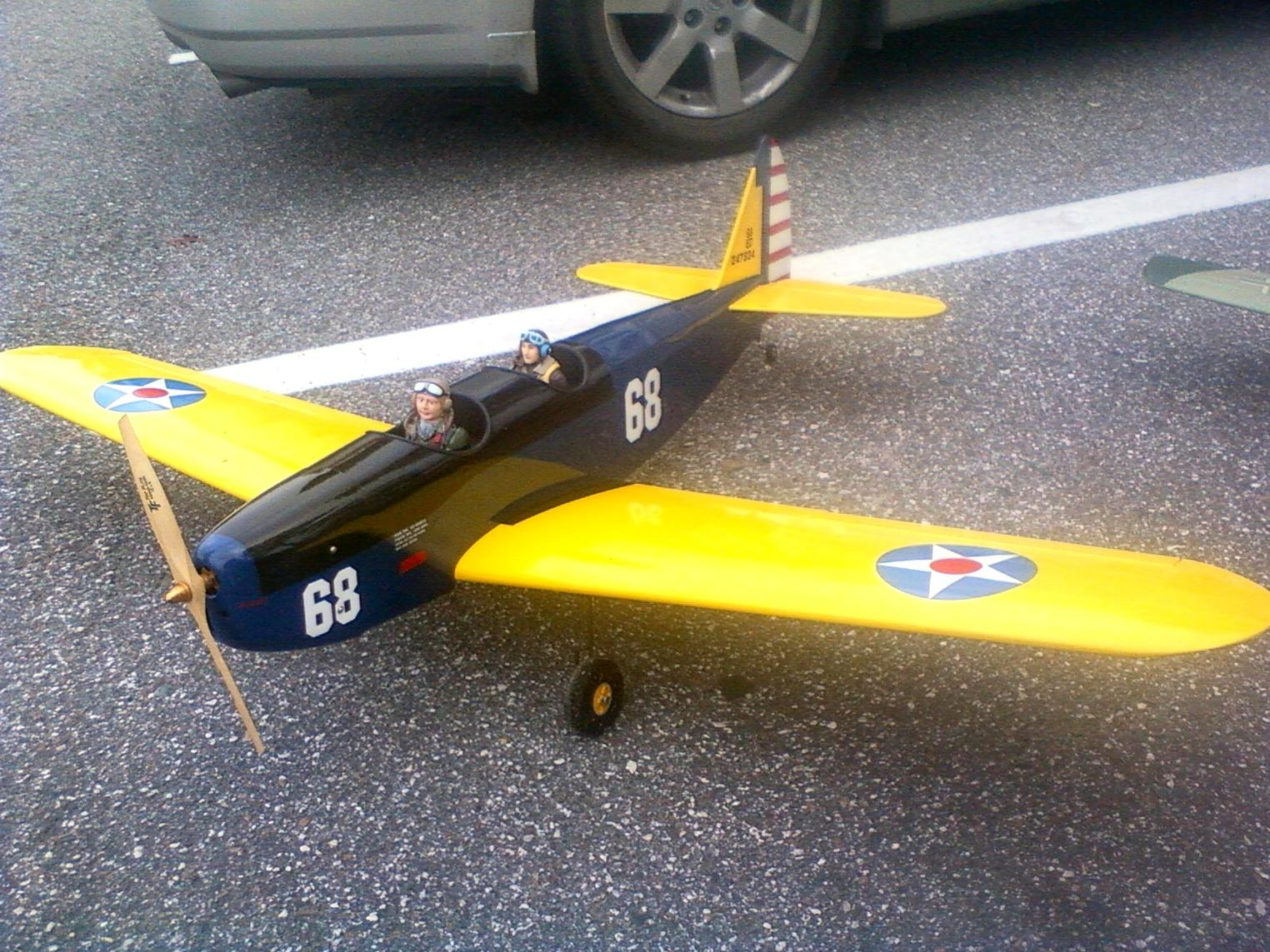 This is my new Kyosho PT-19. It flies very scale on a 4s battery and with authority on 5s. The motor is a Tower Pro 3520-7T. As you can see I still need to install the windshields.