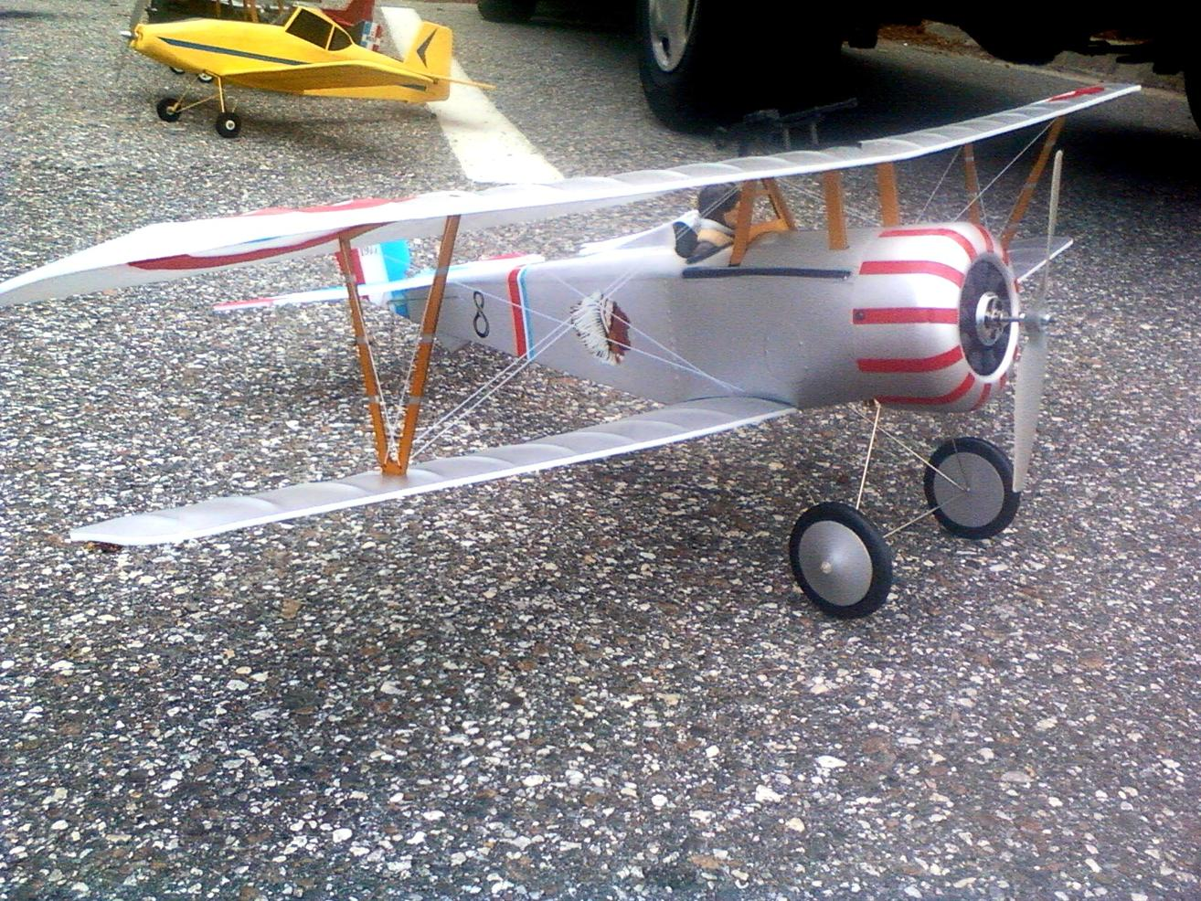 This is the E-flight Nieuport I won in a raffle 2 years ago and never got time to build. I gave it to my friend Chris for his birthday and he built it.