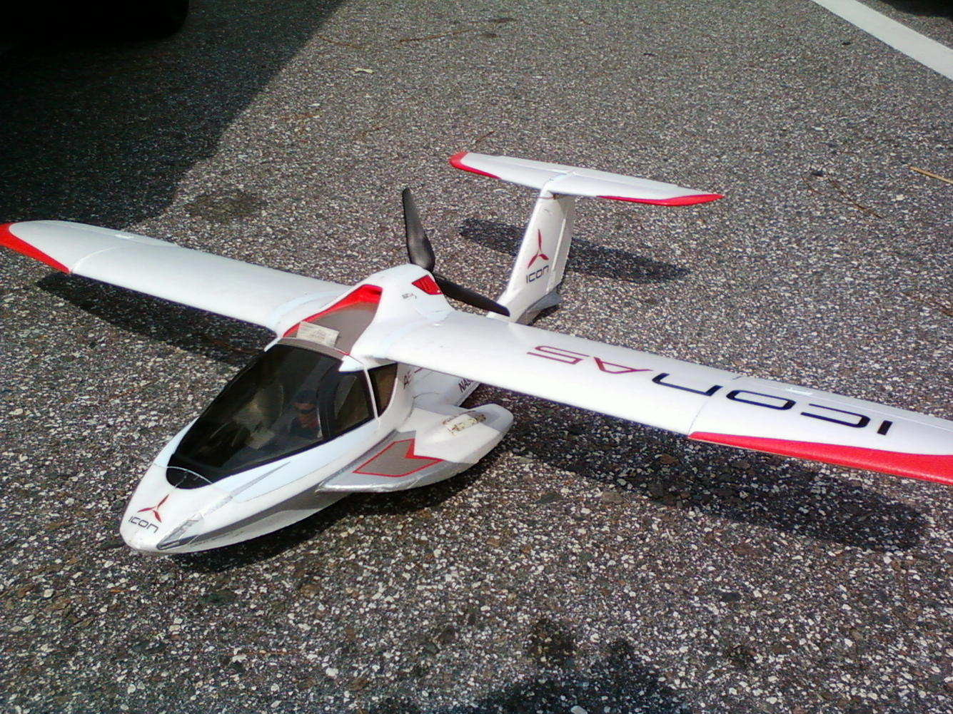 This is my Parkzone Icon A5. I have been having an absolute blast flying it off pavement and pond. On the water it is really a flying wave runner.