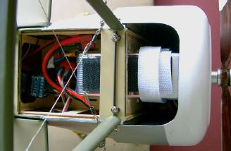 The receiver is visible here. All this sits above the pull-pull servos and is neatly covered with the spring-loaded hatch when flying.