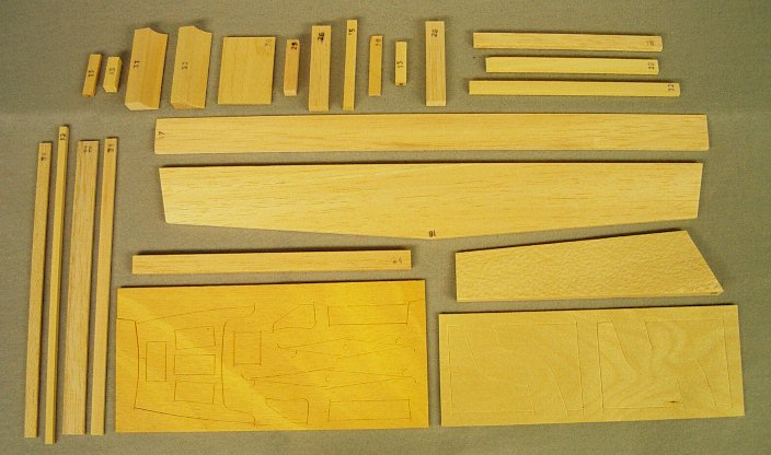 All the wood bits. H-stab/elev. rudder,servo tray,misc. bits.