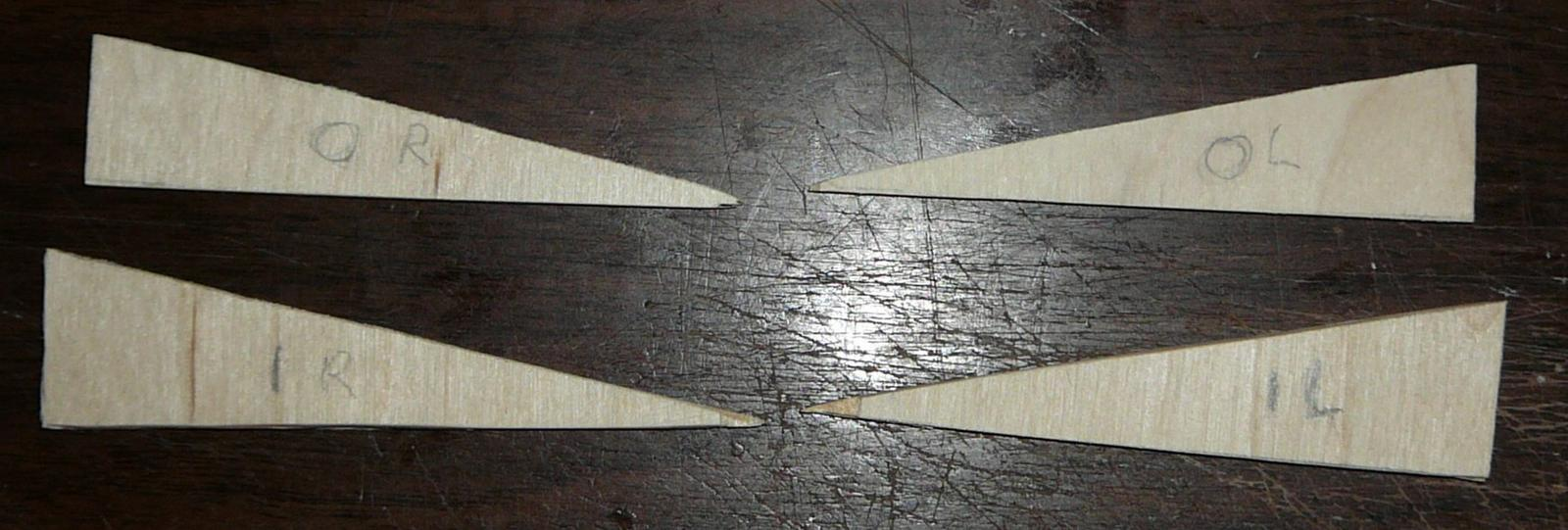 Plywood caps for wing cutouts.