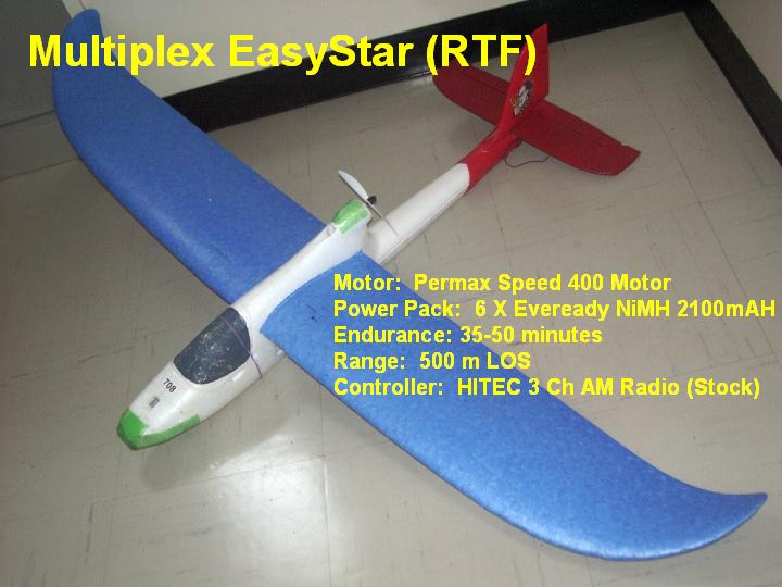 Here's how I got started...an Easystar RTF with an enlarged rudder, 2100 mAH NiMH battery pack made of 6 Energizer Batteries...