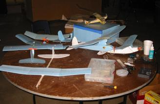 John Gardner�s Glider and Old Timer models sit among some sport and scale models.