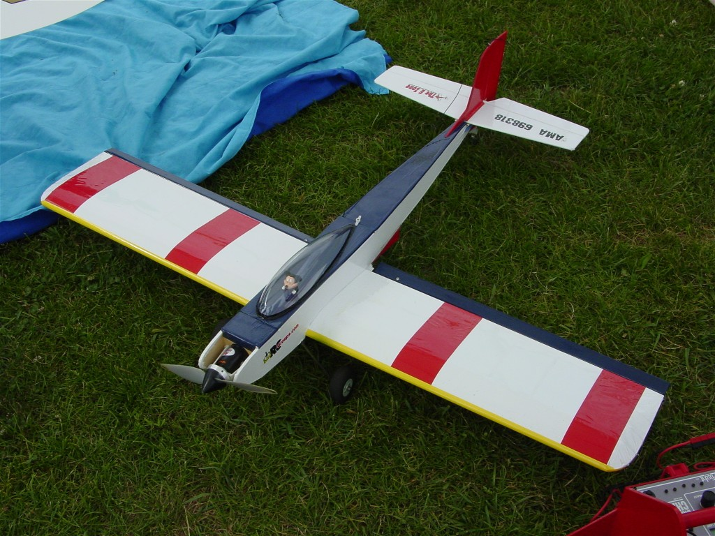 Mitch G. converted this Bridi Warlord .20.  The vintage sport plane flies nicely on 10 cells.