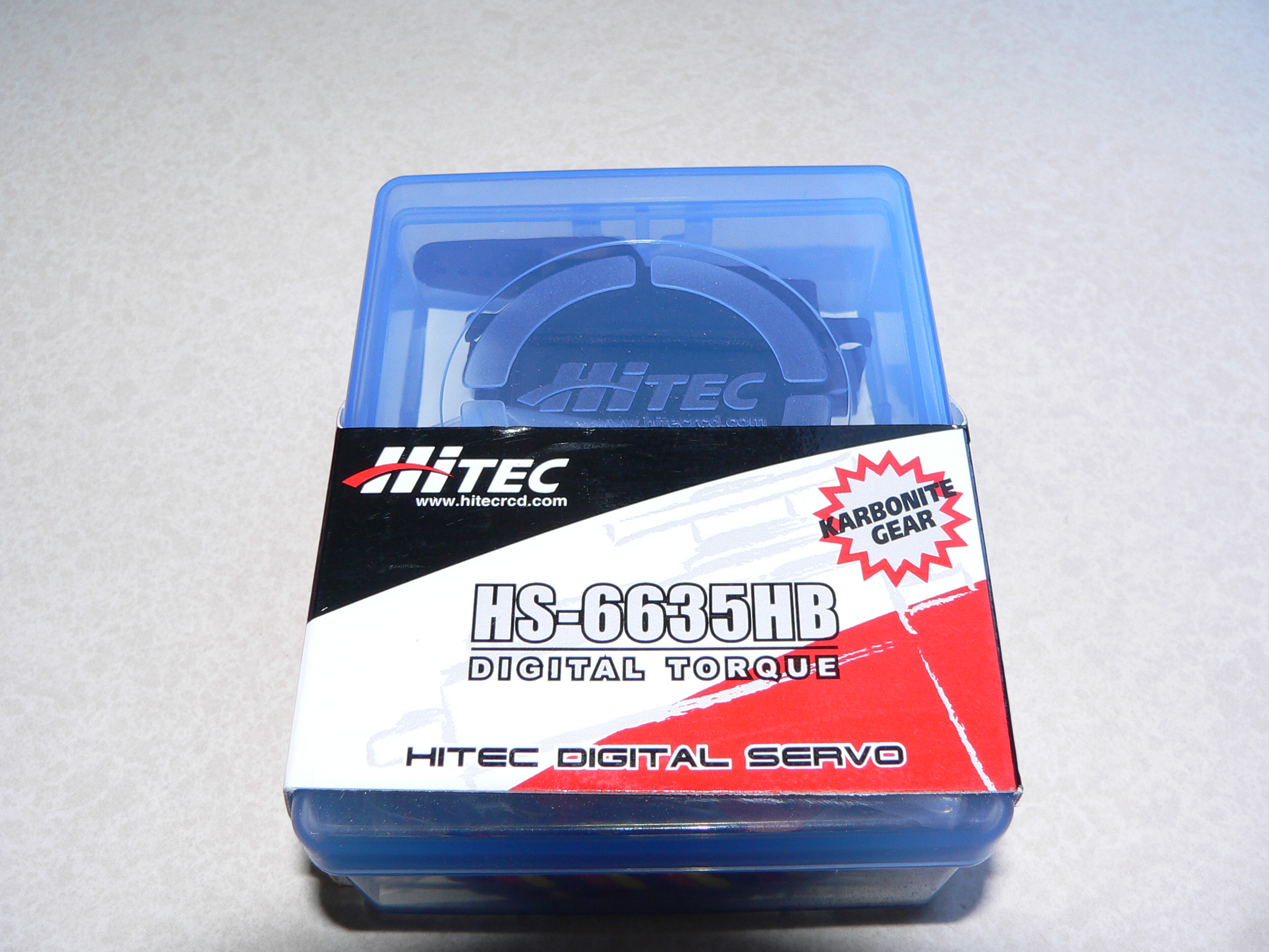 The Hitec HS-6635HB comes packaged in a handy plastic box that can be used around the workshop for storing all those little bits that tend to create clutter.