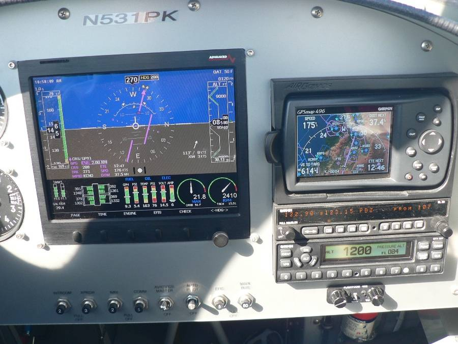 Panel Picture.  The tape on the left of the screen is the airspeed, 143 knots. The tape on the right is the altitude, 8580 ft msl (mean sea level). The GPS upper left corner is the ground speed, 175 knots (201 mph). Scooten...