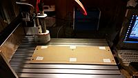 Name: 20141021_200624.jpg Views: 28 Size: 635.9 KB Description: Before mounting the foam block. MDF sacrificial board have been surface milled. Note the double sided tape which will hold the foam block
