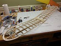 """Name: Wing About Done.jpg Views: 31 Size: 363.8 KB Description: The wing is shaped and about done. You will see in the next photo I added 1/16"""" sheer webs between spars near trailing edge."""