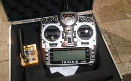 Taranis transmitter, orange transmitter  module, case, and 8th receiver