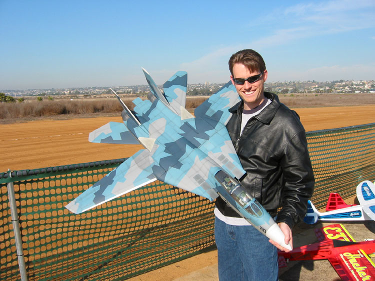 Chris Wolf of Jet Hanger Hobbies with their new EDF F-14 Tomcat.