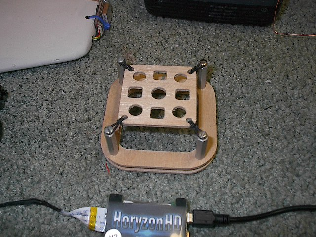 A close-up shot of the anti-vibration mount I put together.  Designed to be mounted either right-side up or inverted with the RVOSD inside.