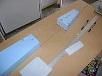 Name: DSC00339.jpg Views: 177 Size: 25.5 KB Description: Proyecci�n de las lineas de las alas y elevadores sobre la l�mina de MDF sobre el vertice se colocar� un tornillo que servir� de eje.
