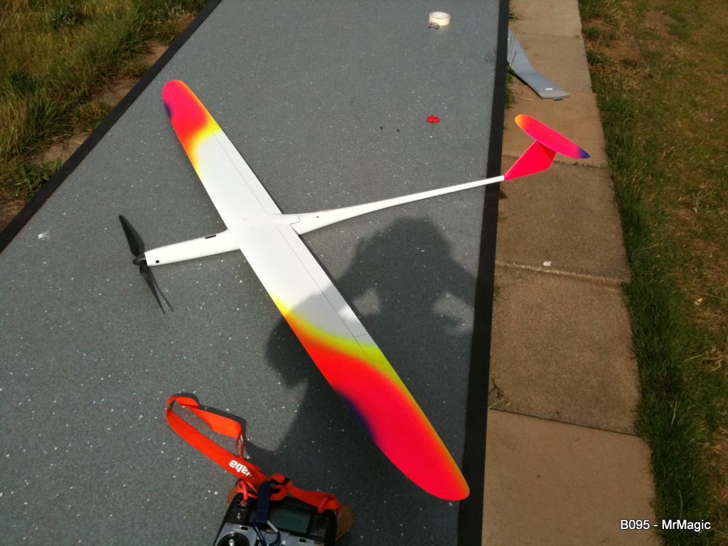 Maidened! took one flight to sort the elevator neutral position. 3 more after flying full F5B pattern. Flew as nice if not better as my other B95.