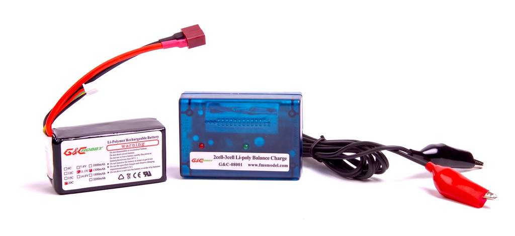 The 3S 1300mAh LiPo battery boasts a 20C discharge rating, and the charger also comes included with the RTF package.