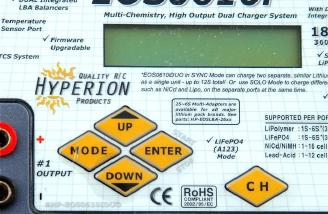 The four buttons on the left navigate the menus on the Hyperion, and the one of the right toggles between the two charge ports.