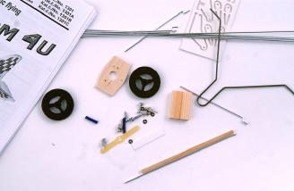 The array of hardware is extensive on this kit, from pre-bent landing gear to pushrod connectors and a tab to create the right thrust angle.