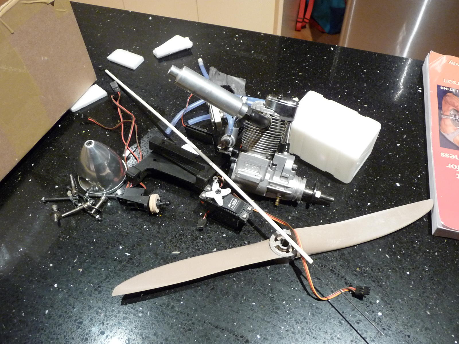 All the glow engine bits removed from the airframe.  Total weight saving of just over 1 kg.