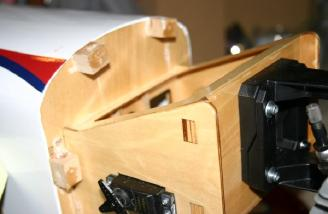 4. I mounted the cowl mounting blocks, glued to the firewall.