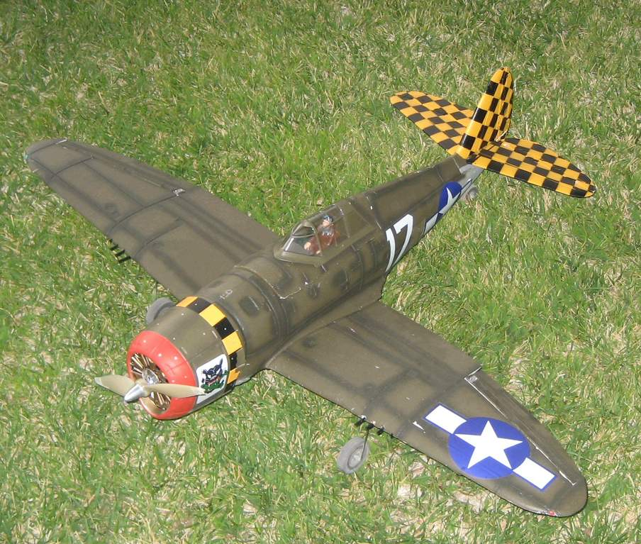 E-Flite P-47. Lots of flights on this workhorse! Still looks good too!!