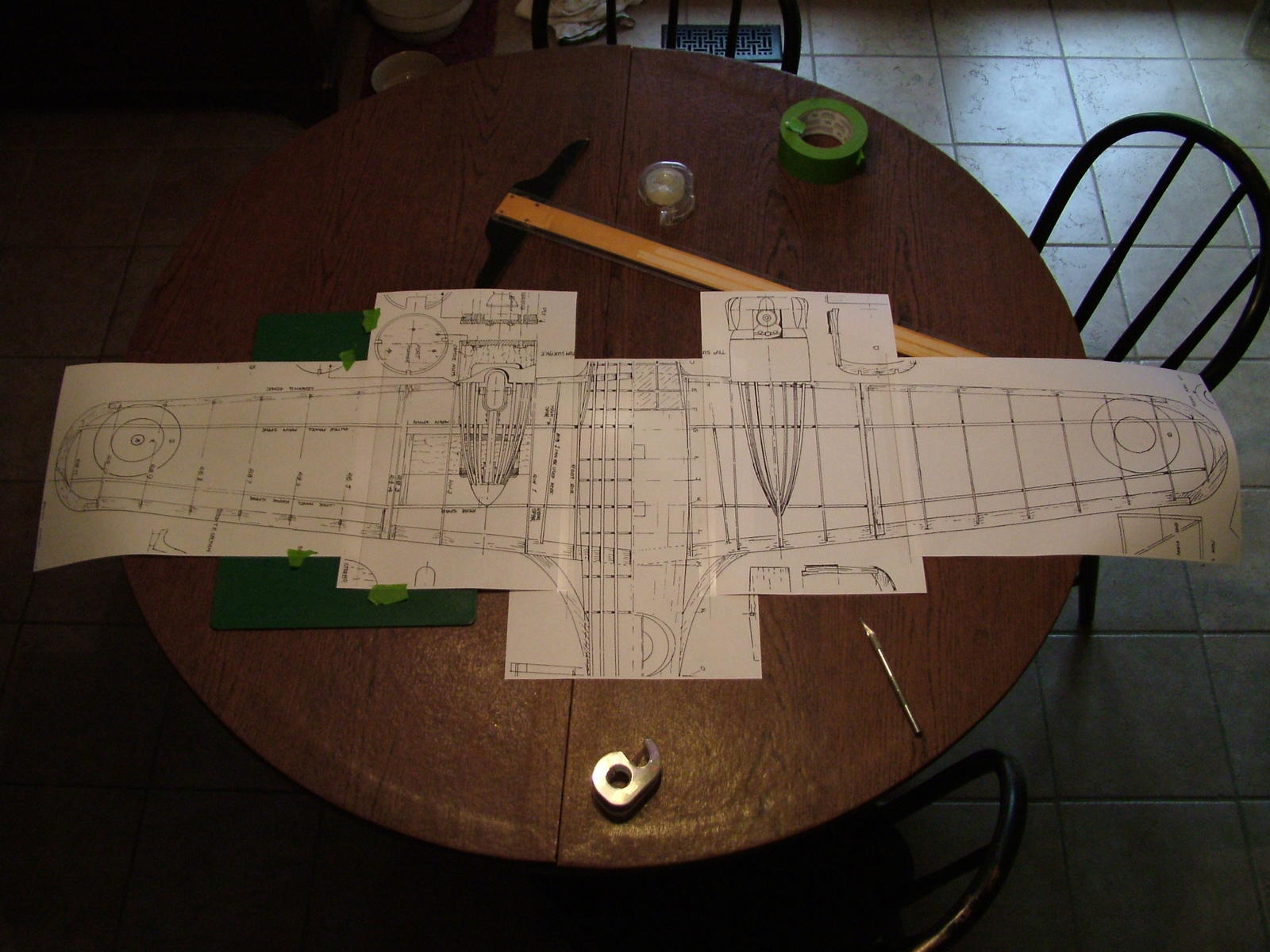 "Final layout all taped together.  56.5"" Span,