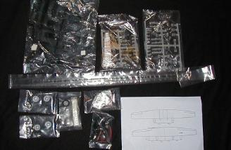Several bags of additional parts, including the motors and wiring