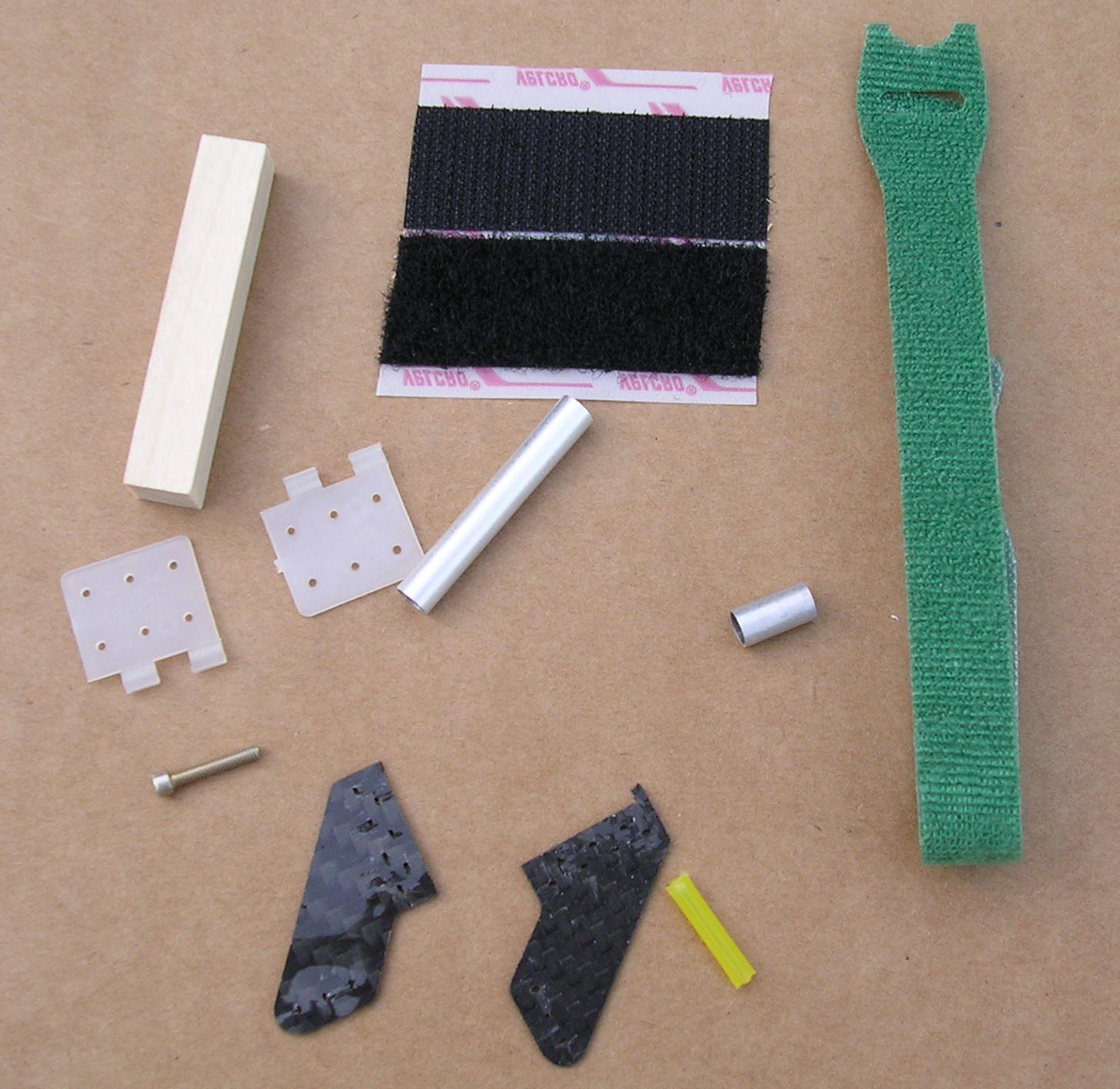 Velcro and other parts for assembly.