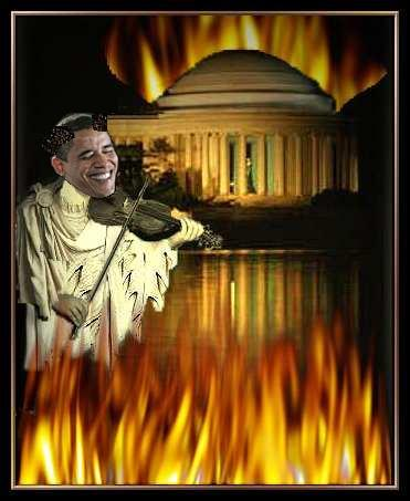 Nero Obama fiddling as rome burns
