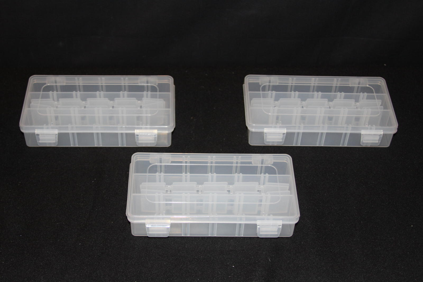 Three sturdy containers - one for each of the three sizes supplied.