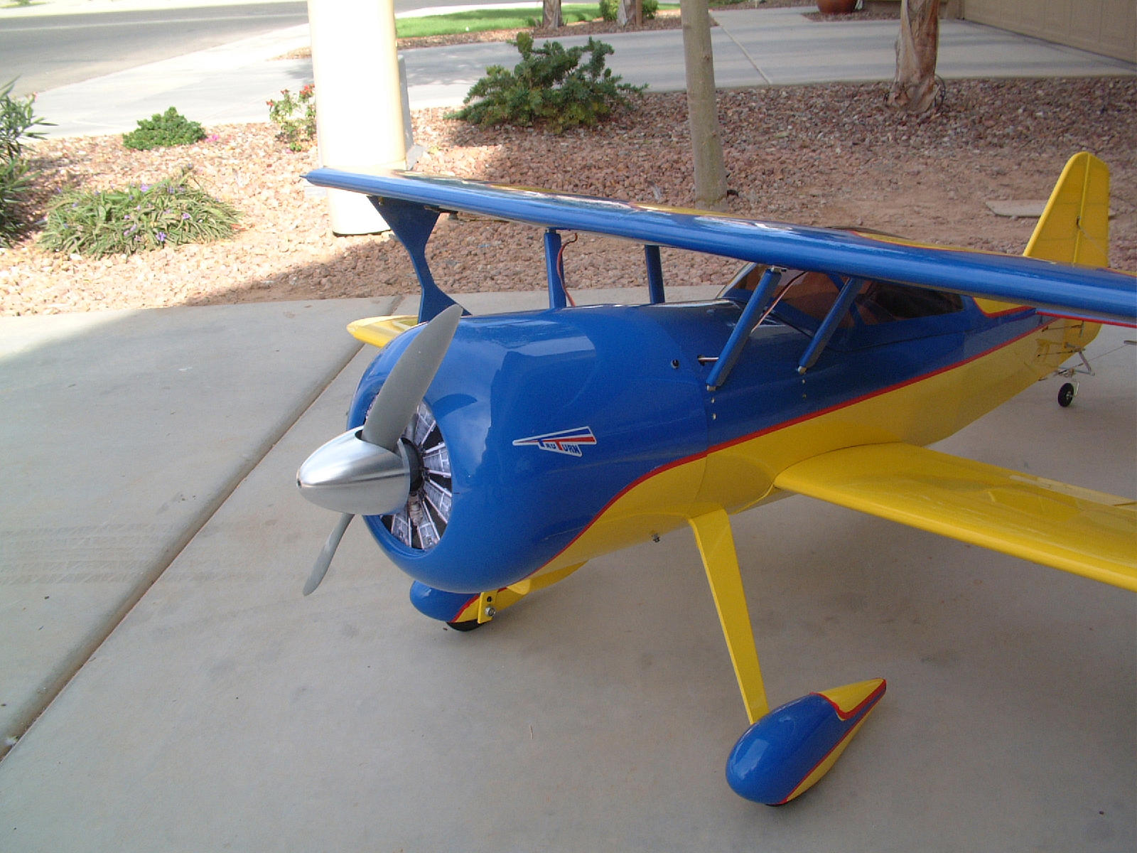 A great front view of a beautifully finished plane.