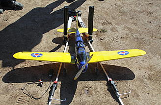 This electric powered PT-19 by Michael was placed in the Airopult before connecting the battery so if anything goes wrong (and the engine goes to full speed), it will not move forward.