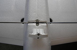Landing gear slips into a pre-cut slot and ready to be secured by locking mechanism.