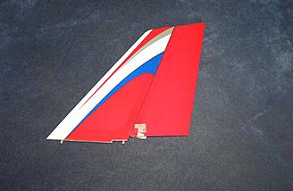 Vertical stabilizer and rudder also come hinged. Note control horn has already been installed.