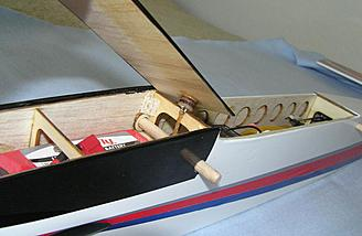 Plywood hatch opened