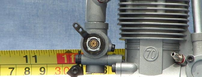 Notice the low speed needle in the center of the throttle arm and the crankcase re-breather.
