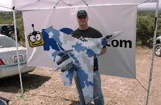 Brian Koester�s SU-35 twins were a big hit and finished well in the judging categories. These EPP foam planes weighed 55ozs, used 4 HS85 MG for servos, had rare earth magnets holding various armaments, were painted with household Latex paint, and involved