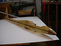 Name: DSC00088.JPG Views: 38 Size: 346.5 KB Description: Fiberglass Sagitta fuselage. I didn't even know these were made. Not a scratch on it, not sure it was ever flown. It also needs a canopy built for it.