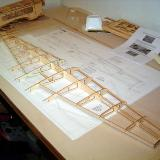 The wing taking shape, ribs and sub leading/trailing edge pieces pushed into position.