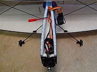 Name: 004 (3).jpg Views: 45 Size: 677.4 KB Description: Put your ESC as far forward as possible, and insert receiver into fuse under upper wing. put battery between ESC and receiver and move forward or back to get correct CG.   (CG is on the spar in upper wing)