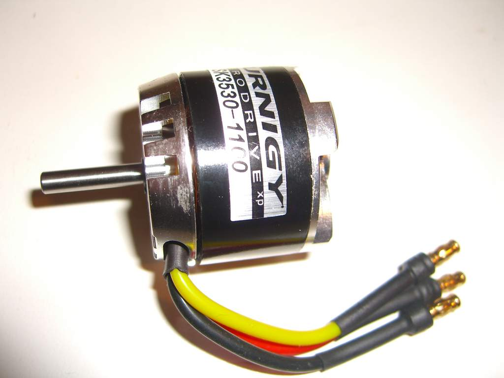 Motor with shaft pushed through.
